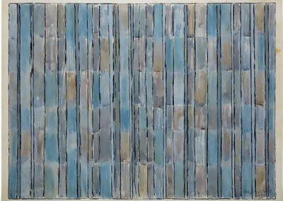 Hommage aan Bach, 1995, olieverf en zand op doek, negenluik