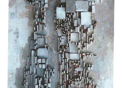 Zonder titel (Manhattan), 1964, reliëf met olieverf en diverse materialen