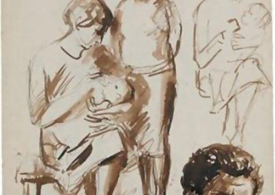 Figuurstudies en zelfportret, jaren 1950